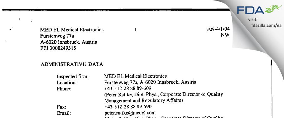 MED-EL Elektromedizinische Gereate, Gmbh FDA inspection 483 Apr 2004