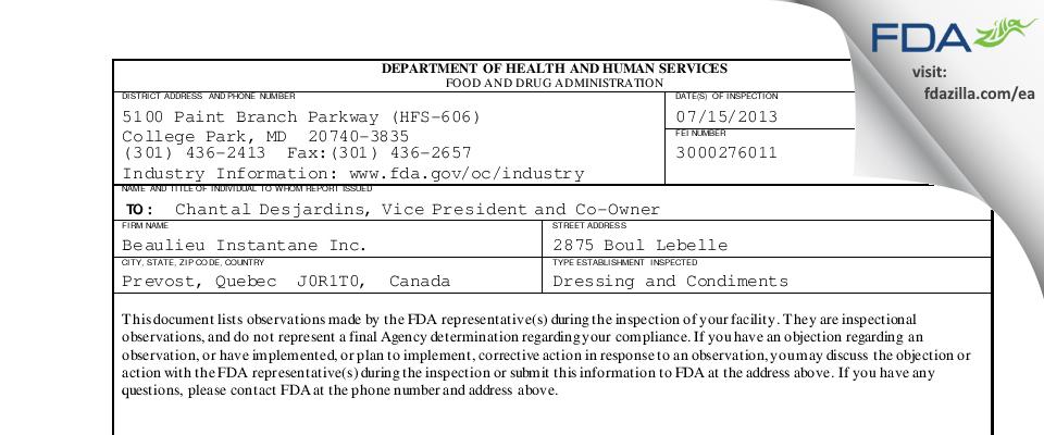 Beaulieu Instantane FDA inspection 483 Jul 2013