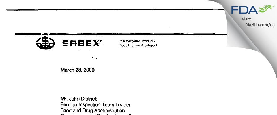 Sandoz Manufacturing FDA inspection 483 Jan 2000
