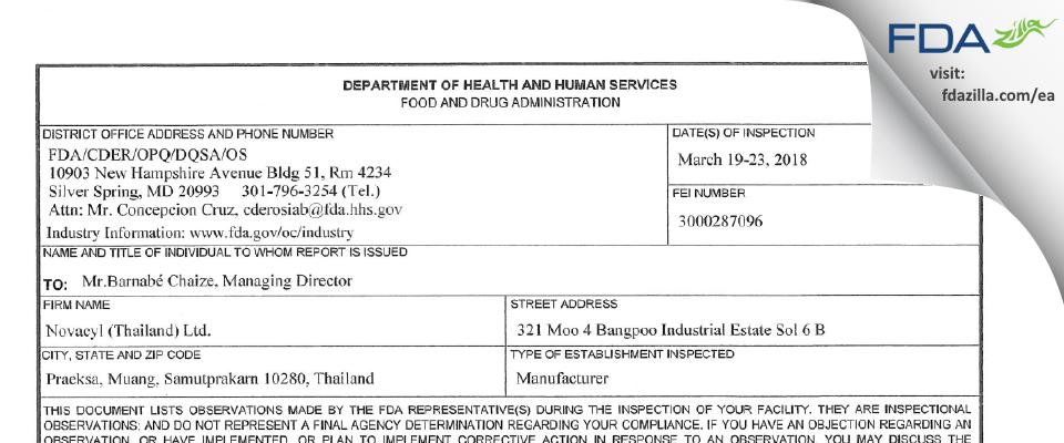 Novacyl (Thailand) FDA inspection 483 Mar 2018