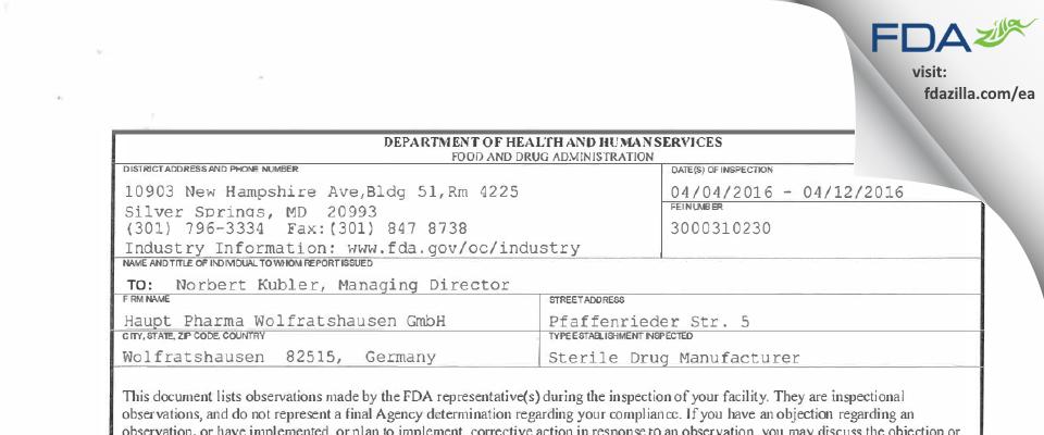 Haupt Pharma Wolfratshausen FDA inspection 483 Apr 2016