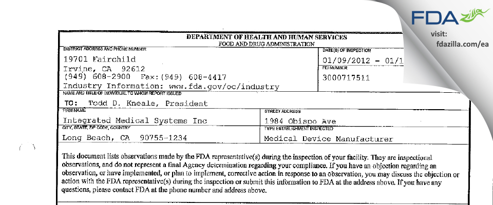 Integrated Medical Systems FDA inspection 483 Jan 2012