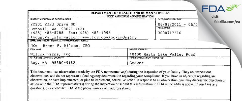 Wilcox Farms FDA inspection 483 Jun 2011