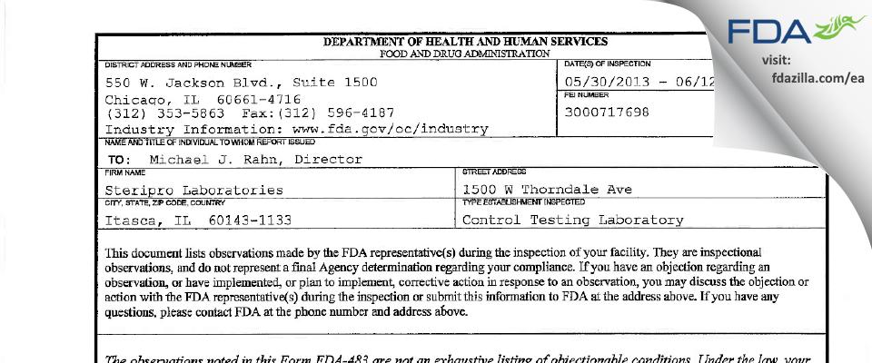 Nelson Labs FDA inspection 483 Jun 2013