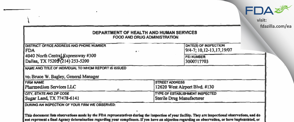 PharMedium Services FDA inspection 483 Sep 2007