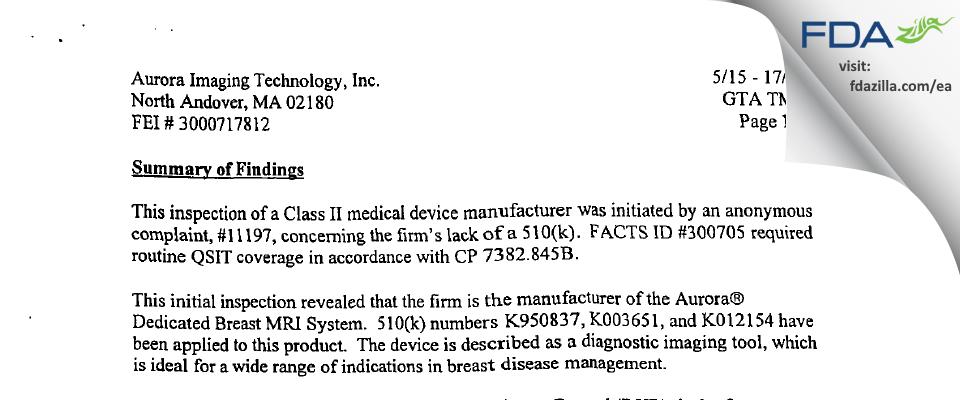 Aurora Imaging Technology FDA inspection 483 May 2002