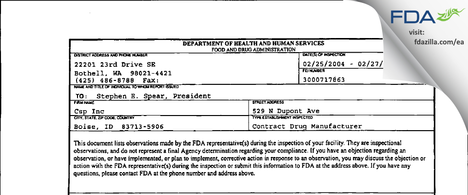 Contract Supplement Packaging FDA inspection 483 Feb 2004