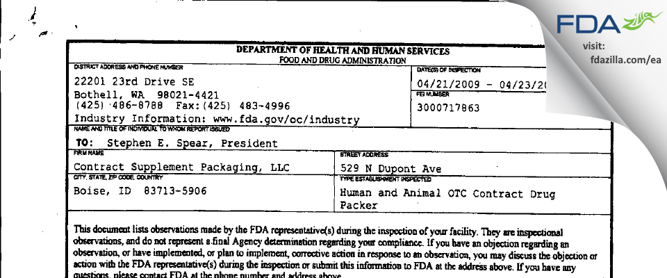 Contract Supplement Packaging FDA inspection 483 Apr 2009