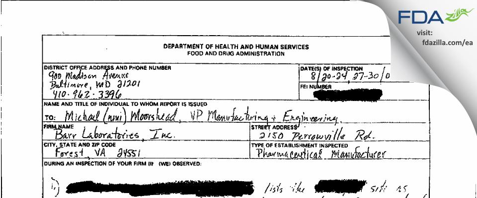 Barr Labs FDA inspection 483 Aug 2001
