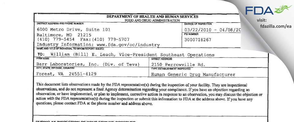 Barr Labs FDA inspection 483 Apr 2010