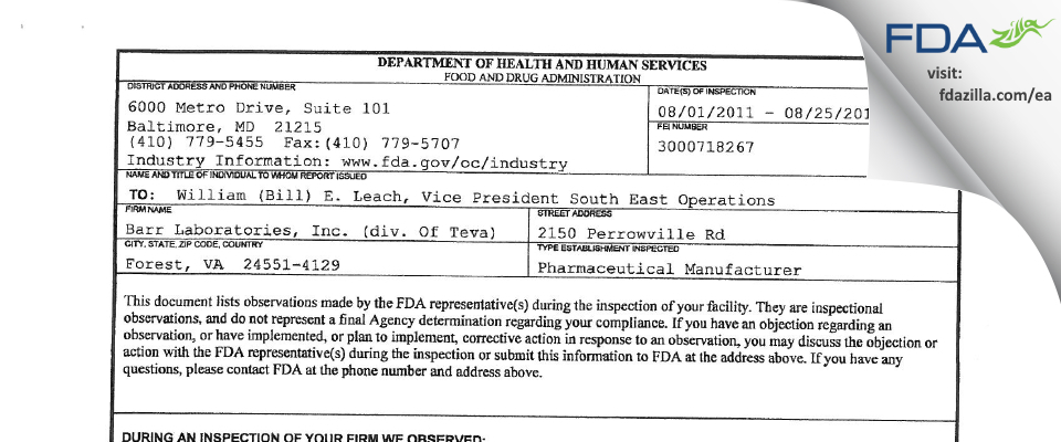 Barr Labs FDA inspection 483 Aug 2011