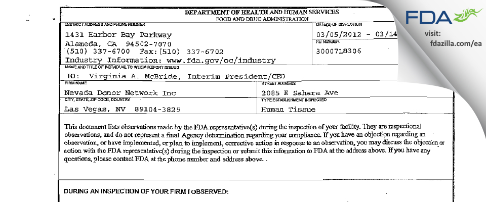 Nevada Donor Network FDA inspection 483 Mar 2012
