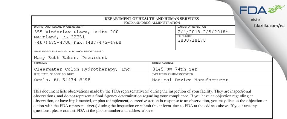 Clearwater Colon Hydrotherapy FDA inspection 483 Feb 2018
