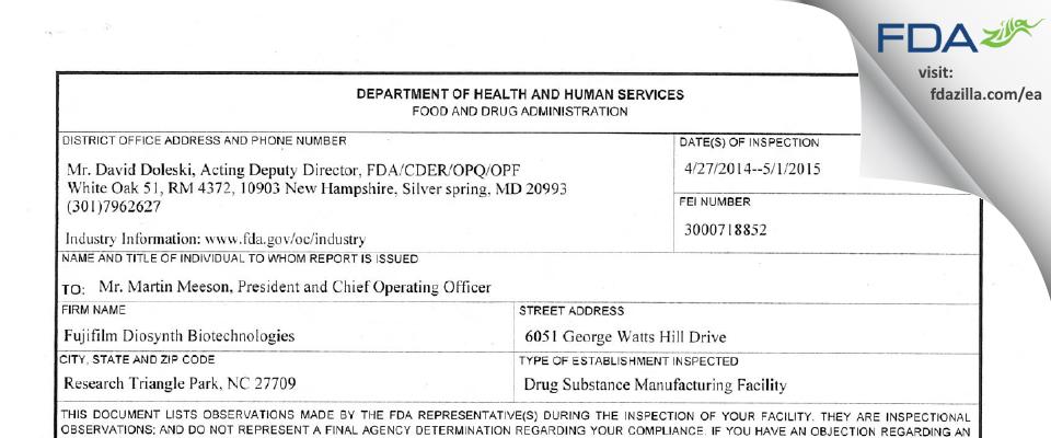 FujiFilm Diosynth Biotechnologies U.S.A. FDA inspection 483 May 2015