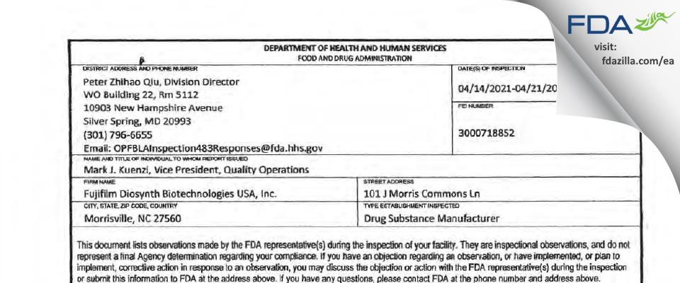 FujiFilm Diosynth Biotechnologies U.S.A. FDA inspection 483 Apr 2021