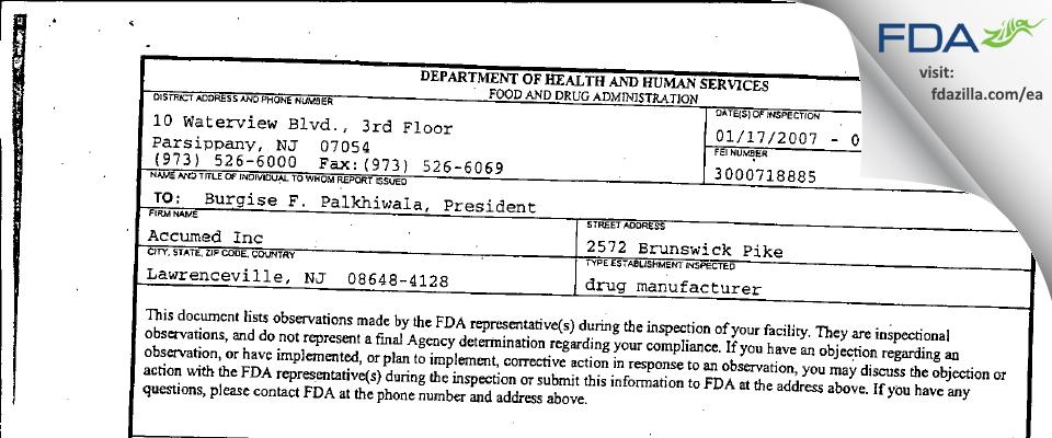 H & P Industries FDA inspection 483 Feb 2007