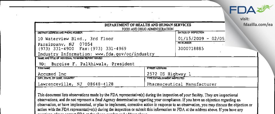 H & P Industries FDA inspection 483 Feb 2009