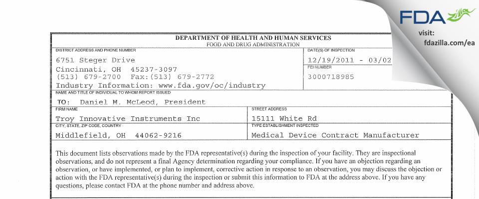Troy Innovative Instruments FDA inspection 483 Mar 2012