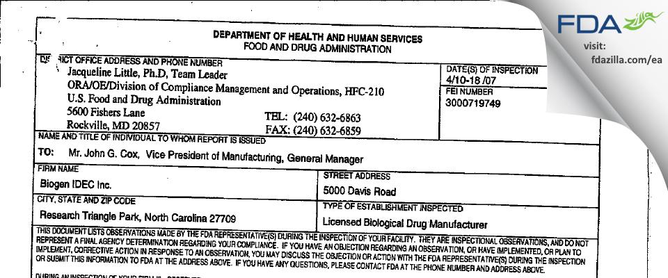 Biogen MA FDA inspection 483 Apr 2007
