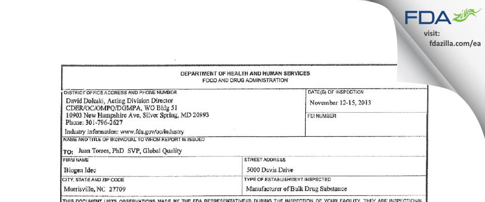 Biogen MA FDA inspection 483 Nov 2013