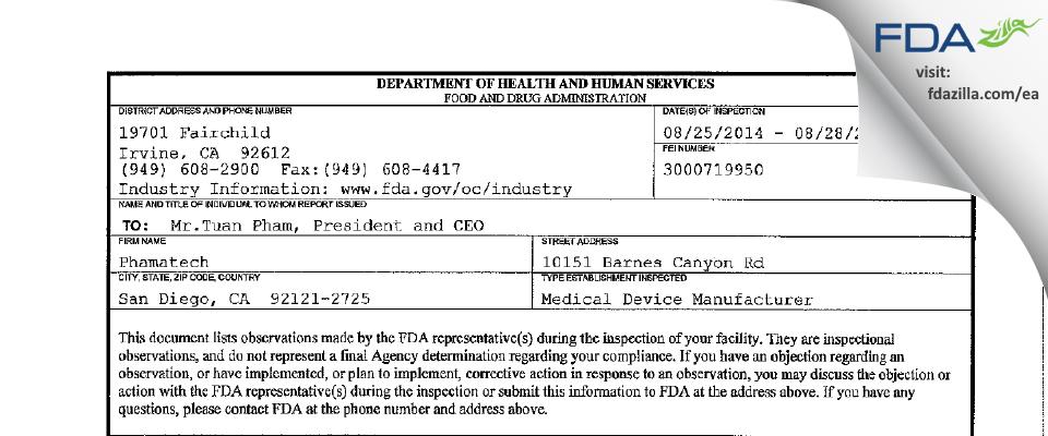 Phamatech FDA inspection 483 Aug 2014