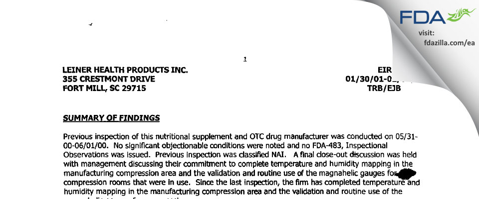 Leiner Health Product FDA inspection 483 Feb 2001