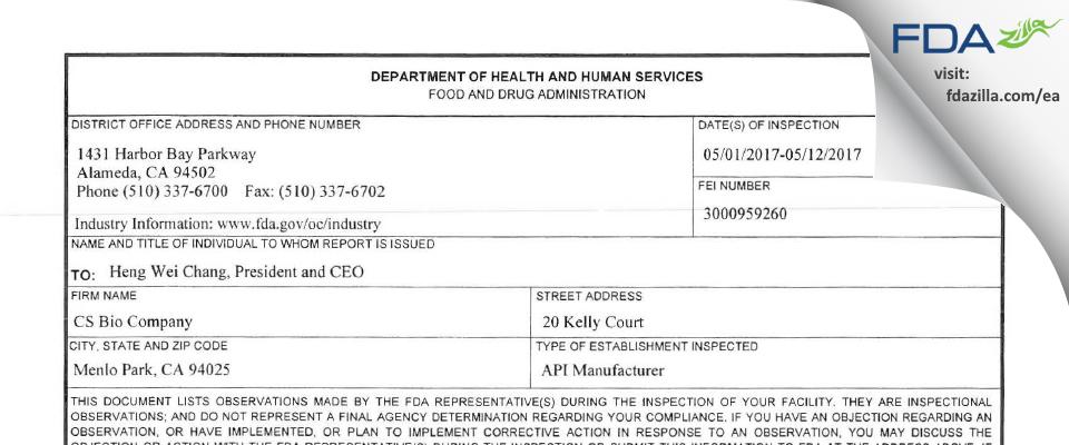 Cs Bio Company FDA inspection 483 May 2017
