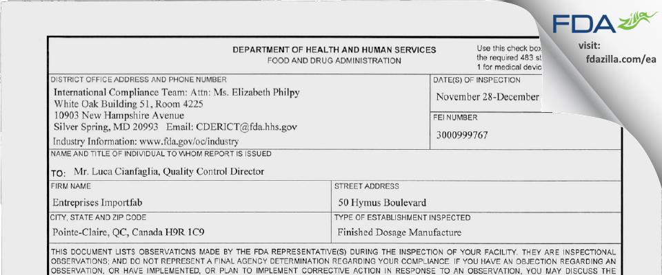 Entreprises Importfab FDA inspection 483 Dec 2011