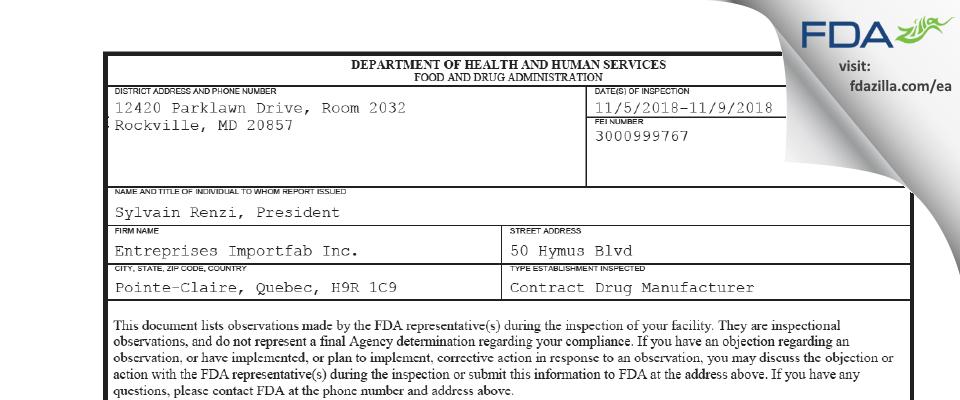 Entreprises Importfab FDA inspection 483 Nov 2018