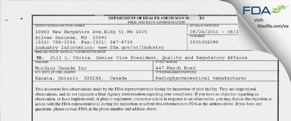 Nordion Canada FDA inspection 483 Aug 2011