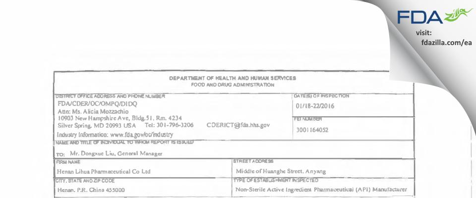 Henan Lihua Pharmaceutical FDA inspection 483 Jan 2016