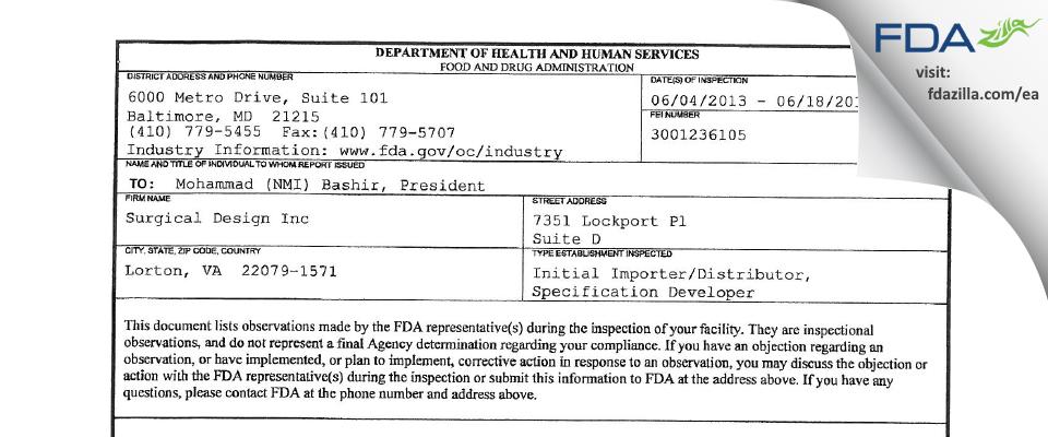 Surgical Design FDA inspection 483 Jun 2013