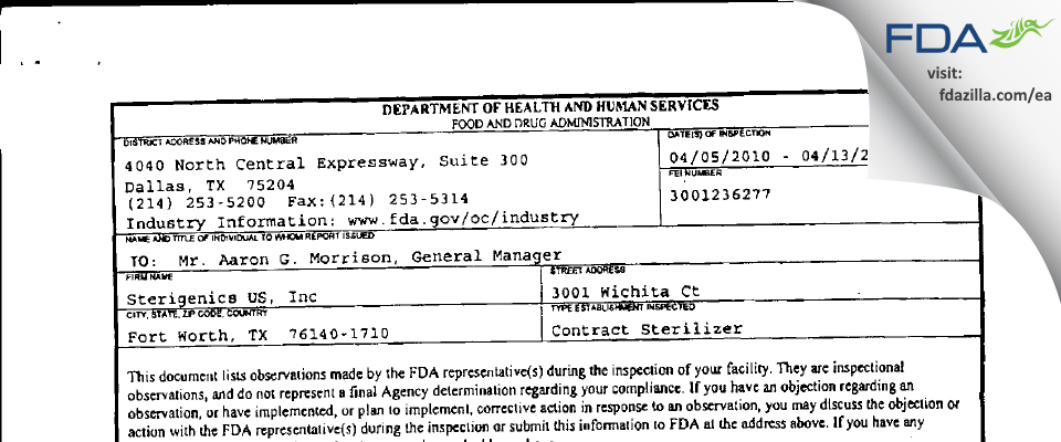 Sterigenics US FDA inspection 483 Apr 2010