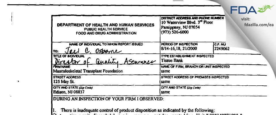 Musculoskeletal Transplant Foundation FDA inspection 483 Aug 2000
