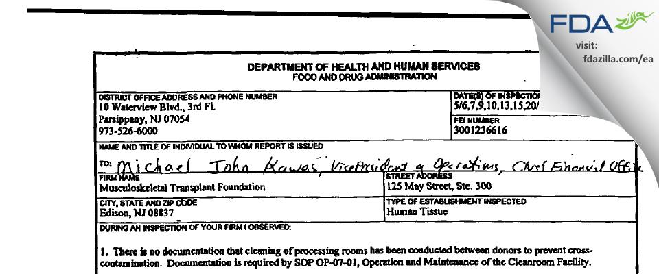 Musculoskeletal Transplant Foundation FDA inspection 483 May 2002