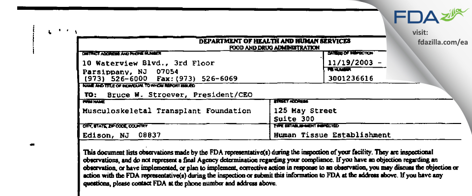 Musculoskeletal Transplant Foundation FDA inspection 483 Dec 2003
