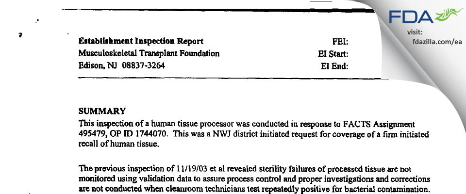 Musculoskeletal Transplant Foundation FDA inspection 483 Jan 2004