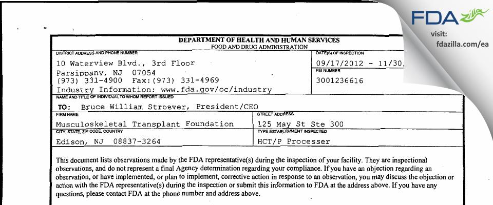 Musculoskeletal Transplant Foundation FDA inspection 483 Nov 2012
