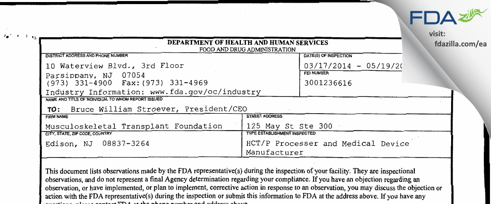 Musculoskeletal Transplant Foundation FDA inspection 483 May 2014