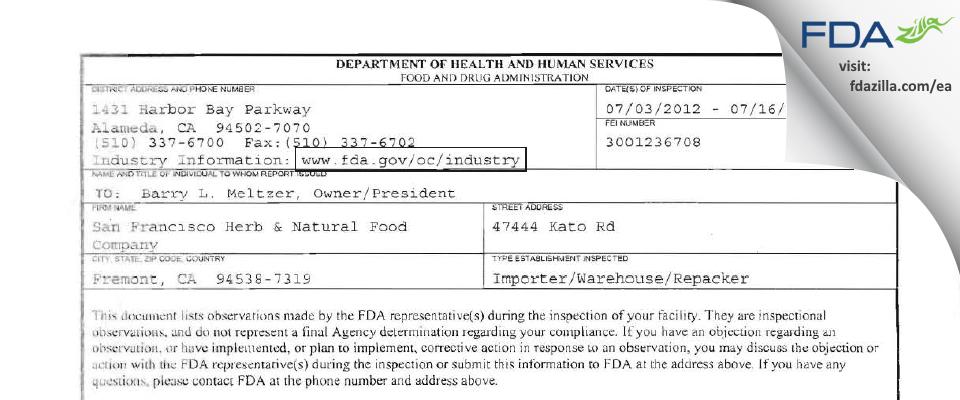 San Francisco Herb & Natural Food Company FDA inspection 483 Jul 2012