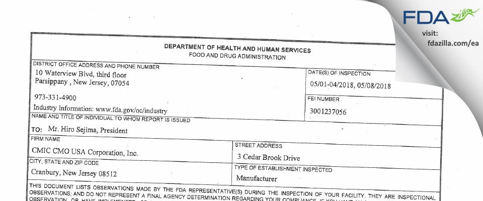 CMIC CMO USA FDA inspection 483 May 2018