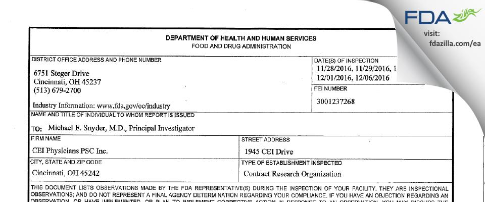 CEI Physicians PSC FDA inspection 483 Dec 2016