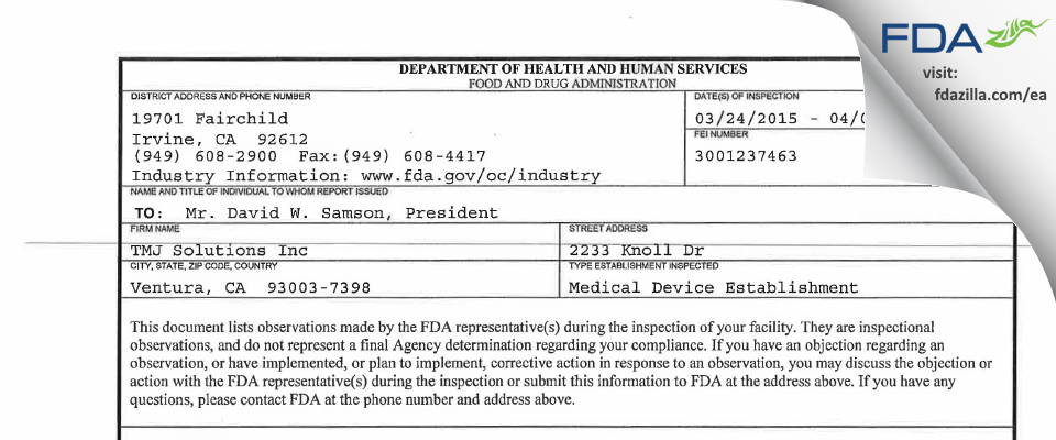 TMJ Solutions FDA inspection 483 Apr 2015