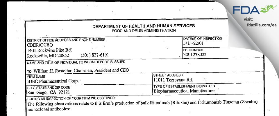 Biogen Idec FDA inspection 483 May 2001