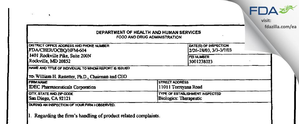 Biogen Idec FDA inspection 483 Mar 2003