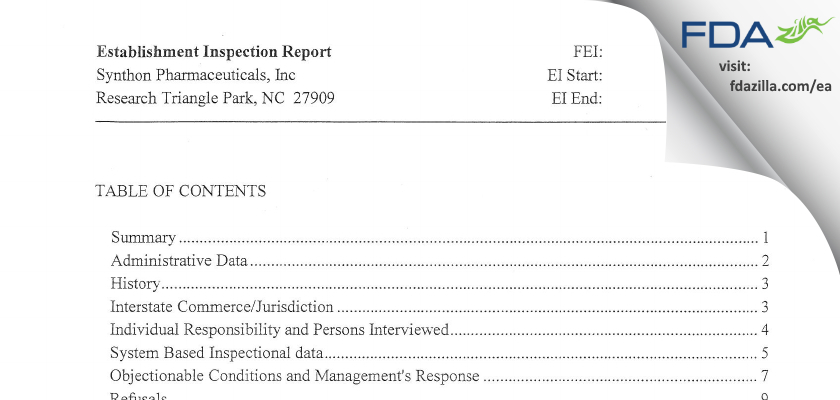 Synthon Pharmaceuticals FDA inspection 483 May 2012