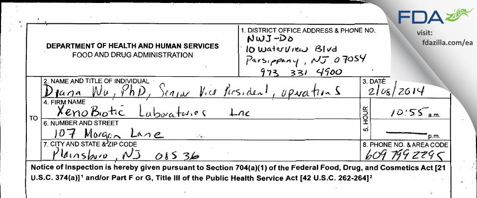 WuXi AppTech/Xenobiotic Labs FDA inspection 483 Feb 2014