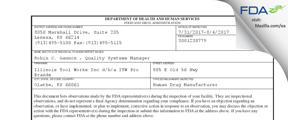 Illinois Tool Works d/b/a ITW Pro Brands FDA inspection 483 Aug 2017
