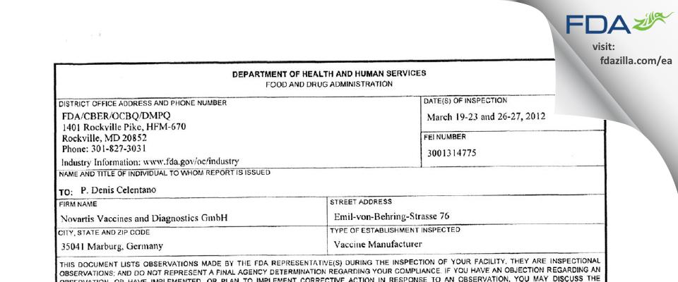 GSK Vaccines FDA inspection 483 Mar 2012