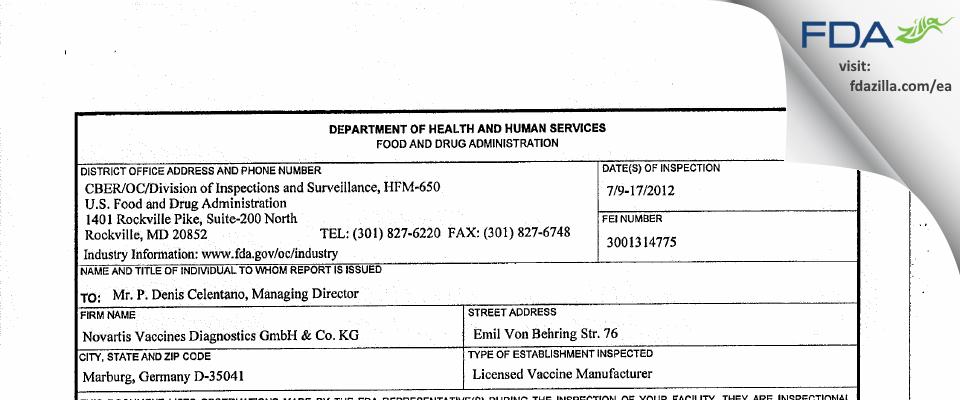 GSK Vaccines FDA inspection 483 Jul 2012